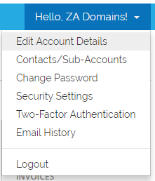 ZA Domains Edit Account Details